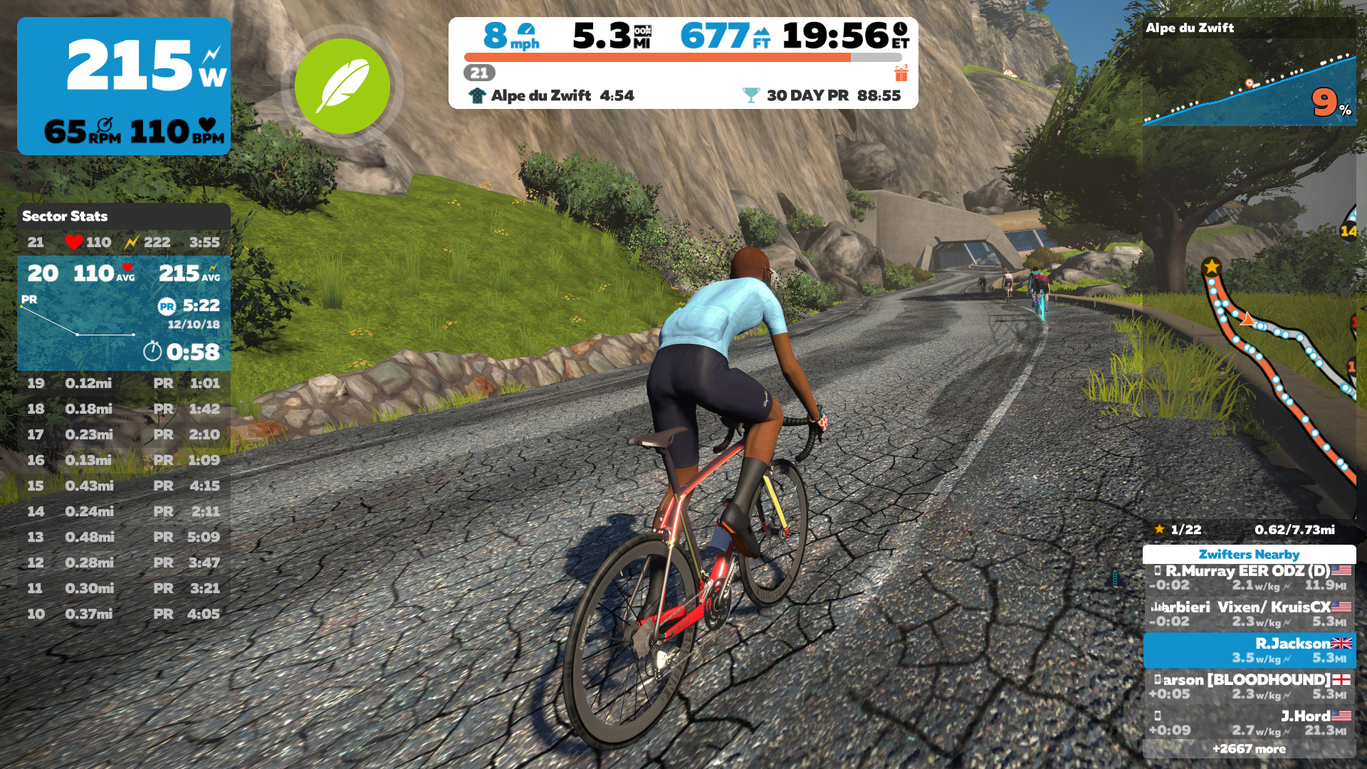 Image of Zwift Cycling HUD